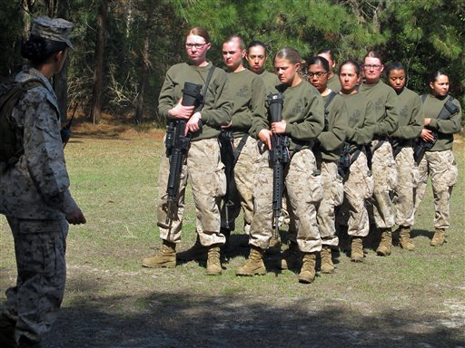 FILE - This Feb. 21, 2013 file photo shows female recruits at the Marine Corps Training Depot on Parris Island, S.C. (AP)