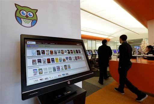 A computer screen displays books available at BiblioTech, a first of its kind digital public library, Wednesday, Dec. 11, 2013, in San Antonio. (AP)