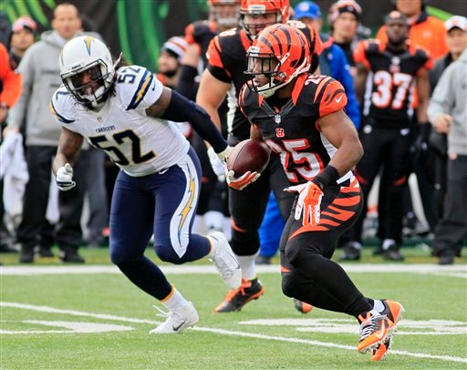 Cincinnati Bengals running back Giovani Bernard (25) runs against San Diego Chargers linebacker Reggie Walker (52) in the first half of an NFL wild-card playoff football game on Sunday, Jan. 5, 2014, in Cincinnati. (AP Photo/Tom Uhlman)