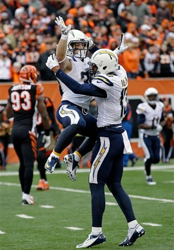 San Diego Chargers running back Danny Woodhead, left, celebrates his touchdown with wide receiver Keenan Allen in the first half of an NFL wild-card playoff football game against the Cincinnati Bengals, Sunday, Jan. 5, 2014, in Cincinnati.