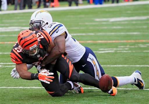 Cincinnati Bengals running back Giovani Bernard (25) fumbles as he is hit by San Diego Chargers linebacker Donald Butler in the first half of an NFL wild-card playoff football game on Sunday, Jan. 5, 2014, in Cincinnati. (AP Photo/Tom Uhlman)