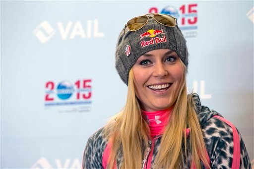 In this Nov. 8, 2013 file photo, Lindsey Vonn speaks at a news conference at Gold Peak, Vail, Colo.