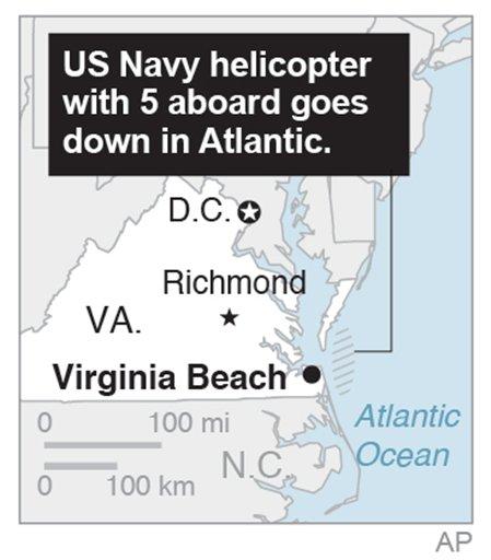Map locates helicopter crash off Virgina coast.