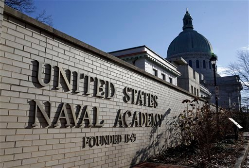 A sign stands outside of an entrance to the U.S. Naval Academy campus in Annapolis, Md., Thursday, Jan. 9, 2014. (AP)