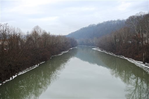 A stretch of the Elk River in Charleston, W.Va., is shown Friday, Jan. 10, 2014.