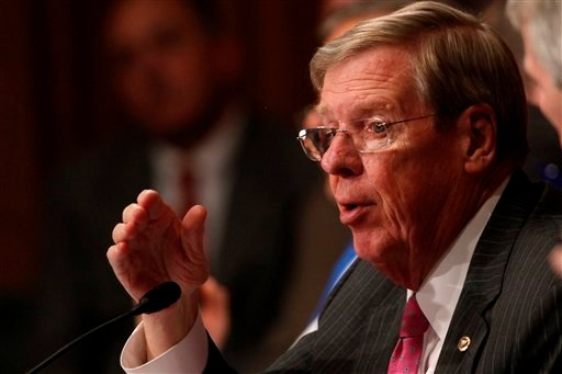 FILE - In this May 21, 2013 file photo, Sen. Johnny Isakson, R-Ga. speaks on Capitol Hill, in Washington. (AP)