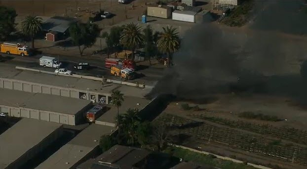 This is a video screen image from Chopper 8 footage shot of a storage unit fire Monday, January 20, 2014 near Santee.