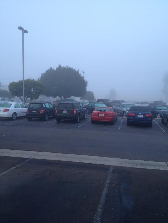 Fog seen here in this photo taken outside of the CBS 8 studios in Kearny Mesa Thursday, January 23, 2014.