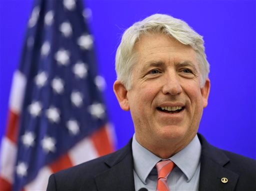 Virginia Attorney General-elect Mark Herring smiles during a news conference at the Capitol in Richmond, Va., in this Dec. 18, 2013 file photo.