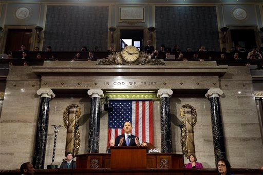 In this Feb. 12, 2013, file photo, President Barack Obama gives his State of the Union address during a joint session of Congress on Capitol Hill in Washington.