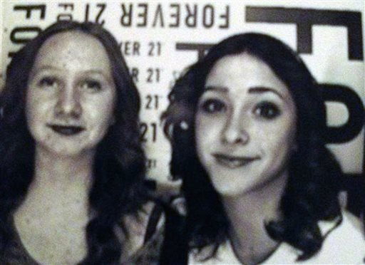 This undated photo released by the Riverside Police Department shows Raylynn Bolt, 12, left, and Diana Tourdot, 14.