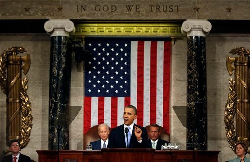 President Barack Obama delivers the State of Union address before a joint session of Congress in the House chamber Tuesday, Jan. 28, 2014, in Washington, as Vice President Joe Biden, and House Speaker John Boehner of Ohio, listen. (AP Photo)