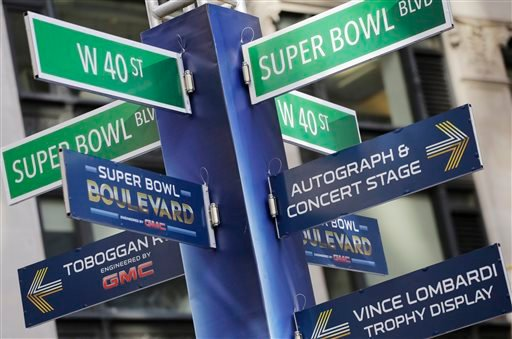 Street signs for Super Bowl Boulevard point to attractions, Tuesday, Jan. 28, 2014 in New York's Times Square. (AP)