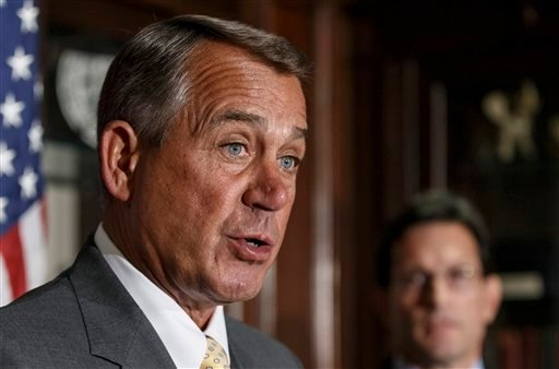 FILE - This Jan. 28, 2014 file photo shows House John Boehner of Ohio, accompanied by House Majority Leader Eric Cantor of Va. (AP)