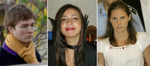 FILE PHOTOS COMBO - File photos combo shows, from left; Italian student Raffaele Sollecito, slain 21-year-old British woman Meredith Kercher, her American roommate Amanda Knox. (AP)