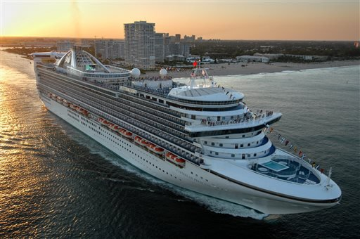 The new Caribbean Princess departs on its maiden voyage from Port Everglades in Fort Lauderdale, Fla., in this April 3, 2004 file photo.