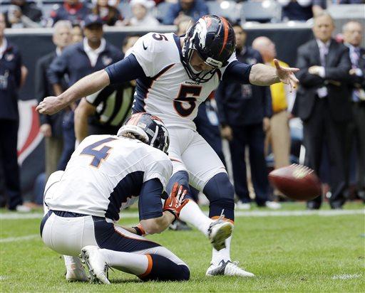 In this Dec. 22, 2013, file photo, Denver Broncos' Matt Prater (5) kicks a field goal against the Houston Texans. (AP Photo/David J. Phillip, File)