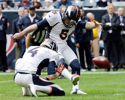 In this Dec. 22, 2013, file photo, Denver Broncos' Matt Prater (5) kicks a field goal against the Houston Texans. (AP Photo/David J. Phillip, File)
