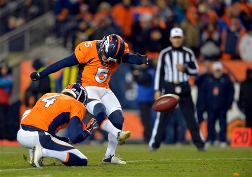 In this Jan. 12, 2014, file photo, Denver Broncos kicker Matt Prater (5) kicks an extra point. (AP Photo/Jack Dempsey, File)