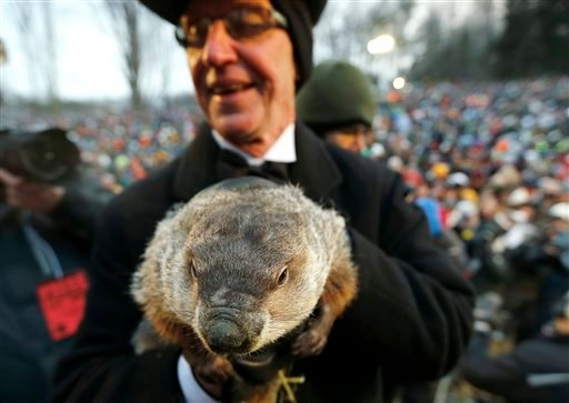 In a Saturday, Feb. 2, 2013 photo, Groundhog Club co-handler Ron Ploucha holds the weather predicting groundhog, Punxsutawney Phil, after the club said Phil did not see his shadow and there will be an early spring, on Groundhog Day, in Punxsutawney, Pa.