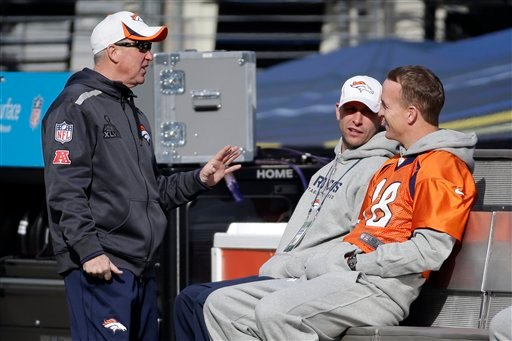 Denver Broncos head coach John Fox, left, talks with quarterback Peyton Manning (18) in MetLife Stadium on Saturday, Feb. 1, 2014, in East Rutherford, N.J.