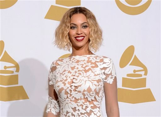 This Jan. 26, 2014 file photo shows Beyonce at the 56th annual Grammy Awards in Los Angeles.