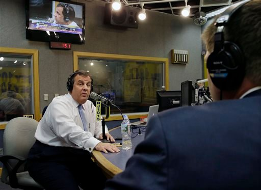 "New Jersey Gov. Chris Christie sits in a studio during his radio program, ""Ask the Governor"" broadcast on NJ 101.5, Monday, Feb. 3, 2014, in Ewing, N.J."