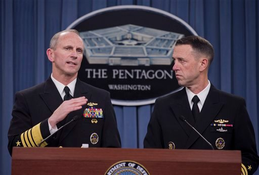 Chief of Naval Operations Adm. Jonathan W. Greenert, left, accompanied by Adm. John M. Richardson, director of the Naval Nuclear Propulsion Program, speaks during a news conference at the Pentagon, Tuesday, Feb. 4, 2014. (AP)