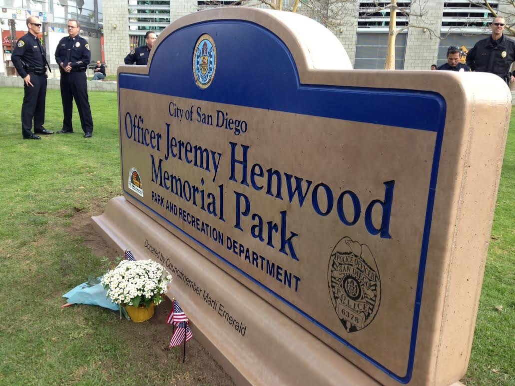 This is a picture taken the City Heights park dedication in honor of fallen officer, Jeremy Henwood. (Thursday, February 6, 2014.)