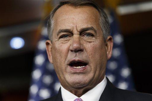 House Speaker John Boehner of Ohio speaks during a news conference on Capitol Hill in Washington, Thursday, Feb. 6, 2014. (AP Photo/J. Scott Applewhite)