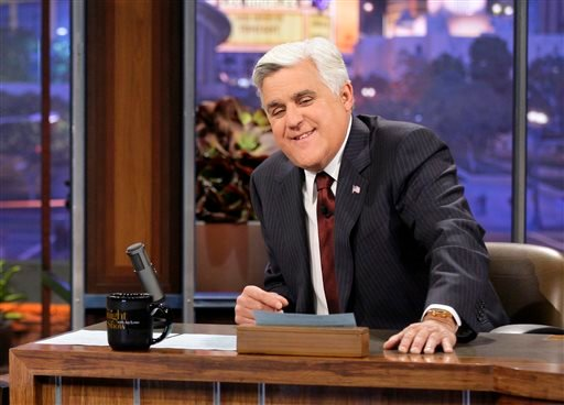 "This Nov. 5, 2012 photo released by NBC shows Jay Leno, host of ""The Tonight Show with Jay Leno,"" on the set in Burbank, Calif. After 22 years, Leno will host his last show on Thursday, Feb. 6, 2014. (AP)"