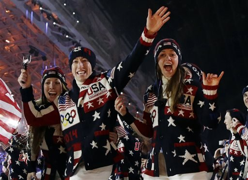 The United States team arrives during the opening ceremony of the 2014 Winter Olympics in Sochi, Russia, Friday, Feb. 7, 2014.