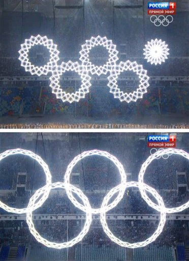 In a combo of frame grabs taken from Russian television, five snowflakes float together in Fisht Stadium during the opening ceremony of the 2014 Winter Olympics in Sochi, Russia, Friday, Feb. 7, 2014.