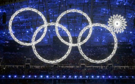 One of the rings forming the Olympic Rings fails to open during the opening ceremony of the 2014 Winter Olympics in Sochi, Russia, Friday, Feb. 7, 2014.