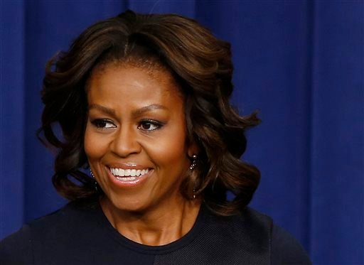This Jan. 16, 2014, file photo, shows first lady Michelle Obama in the Eisenhower Executive Office Building on the White House complex in Washington.