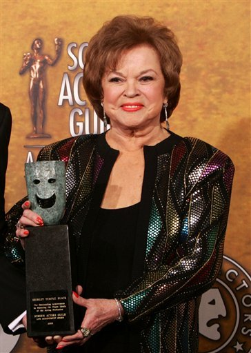 In this Jan. 29, 2006 file photo, Shirley Temple Black poses with the Screen Actors Guild Awards 42st annual life achievement award at the 12th Annual Screen Actors Guild Awards, in Los Angeles.
