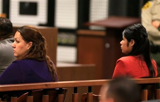 Candace Marie Brito, left. and Vanesa Zavala sit in the West Justice Center, Westminster, Calif., Monday, Feb. 10, 2014, at a preliminary hearing. (AP)