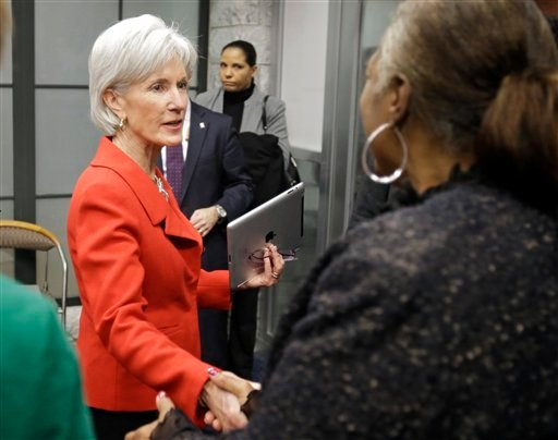 FILE - In this Feb. 3, 2014 file photo, Health and Human Services Secretary Kathleen Sebelius greets visitors after a news conference on enrollment in affordable health coverage in Cleveland. (AP)