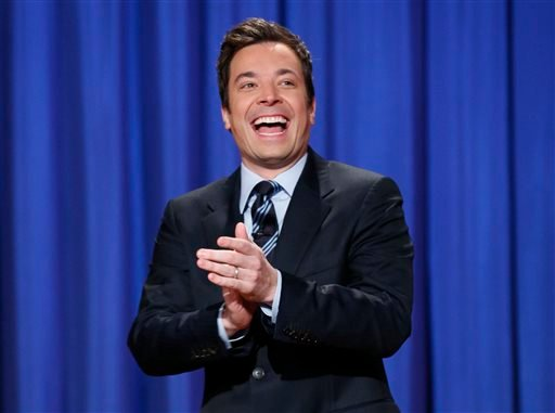 "This April 4, 2013 file photo released by NBC shows Jimmy Fallon, host of ""Late Night with Jimmy Fallon,"" in New York."