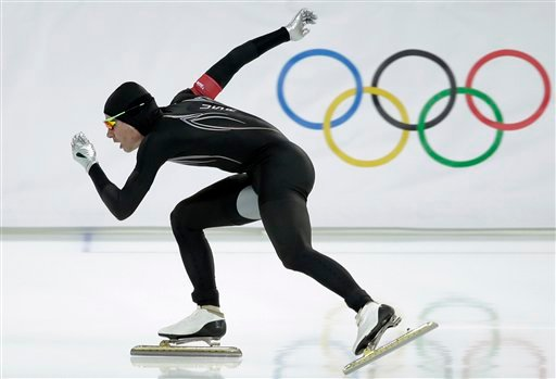 In this Monday, Feb. 10, 2014 file photo, Tucker Fredricks of the United States competes in the first heat of the men's 500-meter speedskating race at Adler Arena in Sochi, Russia, during the 2014 Winter Olympics.