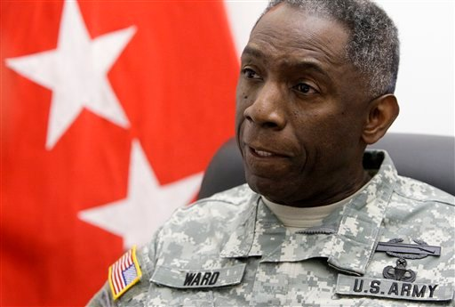 "In this March 23, 2009, file photo, Army Gen. William ""Kip"" Ward, Commander, United States Africa Command, speaks with The Associated Press during an interview at the Pentagon."