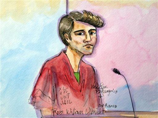 In this Oct. 4, 2013 file photo, an artist rendering depicts Ross William Ulbricht during an appearance at federal court in San Francisco.