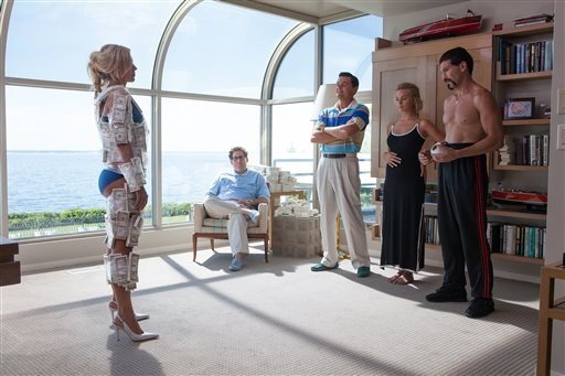 "This image released by Paramount shows, from left, Katarina Cas, Jonah Hill, Leonardo DiCaprio, Margot Robbie and Jon Bernthal in a scene from ""The Wolf of Wall Street."" (AP Photo/Paramount Pictures, Mary Cybulski)"