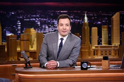 """In this photo provided by NBC, Jimmy Fallon appears during his """"The Tonight Show"""" debut on Monday, Feb. 17, 2014, in New York."""