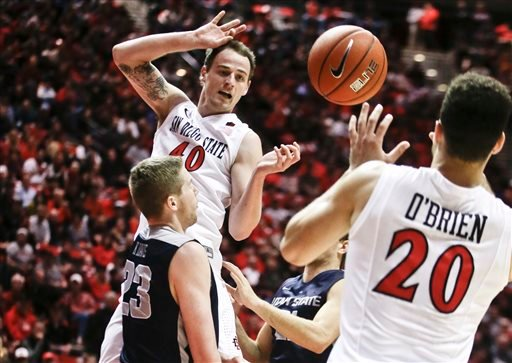 San Diego State forward Matt Shrigley releases a pass to JJ O'Brien after penetrating the lane during the first half of a NCAA college basketball game Tuesday, Feb. 18, 2014, in San Diego.