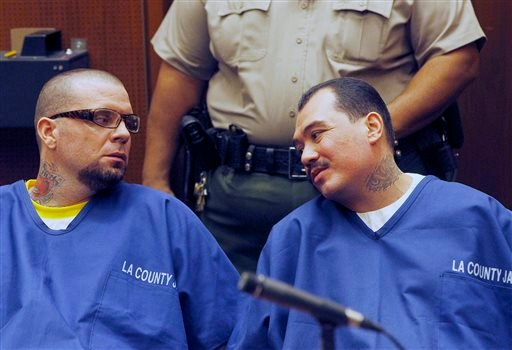 Defendants Marvin Norwood, left, and Louie Sanchez appear during a hearing Thursday Feb. 20, 2014 in Los Angeles.