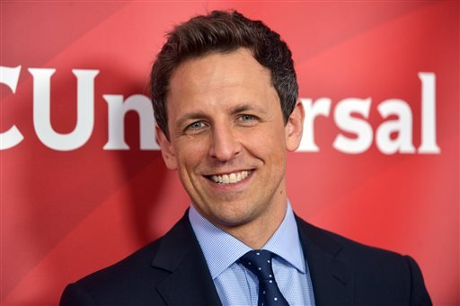 "This Jan. 19, 2014 file photo shows Seth Meyers at the NBC/Universal Winter 2014 TCA in Pasadena, Calif. Meyers' new show, ""Late Night with Seth Meyers,"" will premiere on Monday, Feb. 24. (Photo by Richard Shotwell/Invision/AP/File)"