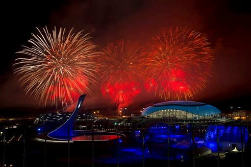 Fireworks explode over Olympic Park during the closing ceremony for the 2014 Winter Olympics, Sunday, Feb. 23, 2014, in Sochi, Russia. (AP Photo/Matt Slocum)