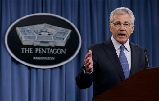 Defense Secretary Chuck Hagel briefs reporters at the Pentagon, Monday, Feb. 24, 2014, where he recommended shrinking the Army to its smallest size since the buildup to U.S. involvement in World War II.