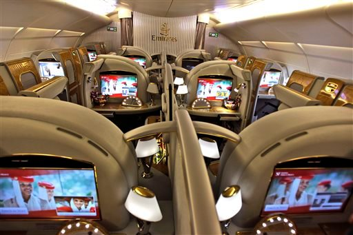 In this Sunday, Feb. 10, 2013, file photo the first class section of an Emirates airlines Airbus A380 is ready for boarding at the new Concourse A of Dubai airport in Dubai. (AP Photo/Kamran Jebreili)